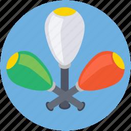 bowling pins, circus, juggling, juggling club, maraca icon