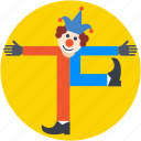 buffoon, clown, entertainer, jester, joker icon