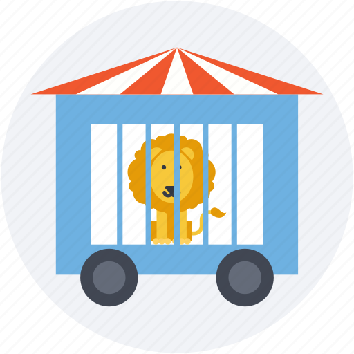 animal, circus cage, circus wagon, lio, train car icon