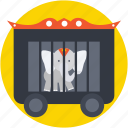 animal, circus cage, circus wagon, elephant, train car icon