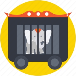 animal, circus cage, circus wagon, elephant, train car icon