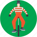 circus performer, clown bicycle, jester, unicycle