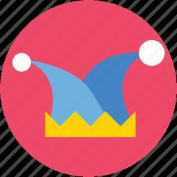 clown hat, costume, court jester, jester hat, joker hat icon