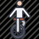 acrobatic, clown cycle, funambulism, tightrope walker, wheel balancing