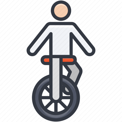 acrobatic, clown cycle, funambulism, tightrope walker, wheel balancing icon
