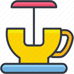 amusement park, cup ride, mad tea party, spinning cup ride, teacup ride icon