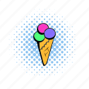 comics, cone, cream, ice, icecream, soft, whipped icon