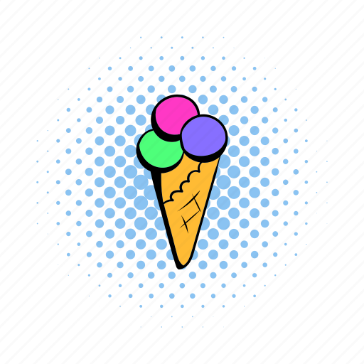 comics, cone, cream, ice, icecream, soft, whipped icon
