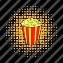 cinema, comics, corn, crunch, fun, movie, popcorn