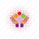 arm, ball, balls, comics, fingers, handshake, juggling icon