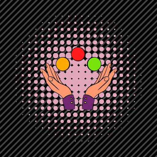 arm, ball, balls, comics, fingers, handshake, juggling icon
