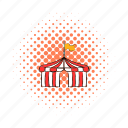 circus, comics, event, flag, funfair, red, tent icon