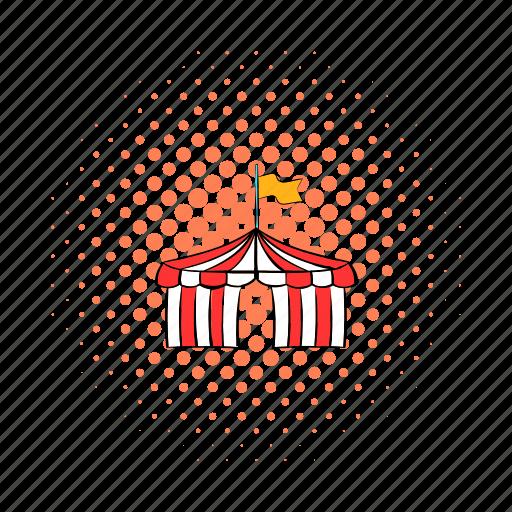 circus, comics, event, flag, funfair, red, tent icon