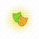 comedy, comics, drama, mask, sad, theater, tragedy icon
