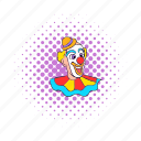 circus, clown, comics, face, hat, purim, smile icon