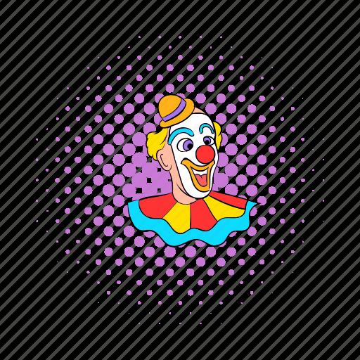 circus, clown, comics, face, hat, purim, smile icon