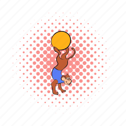acrobatic, ape, ball, comics, hand, monkey, one icon