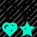 chain, heart, key, souvenir, star icon