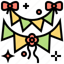 banner, bow, bunting, celebration, decorative