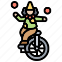 circus, clown, juggling, show, unicycle