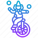 circus, clown, juggling, show, unicycle icon