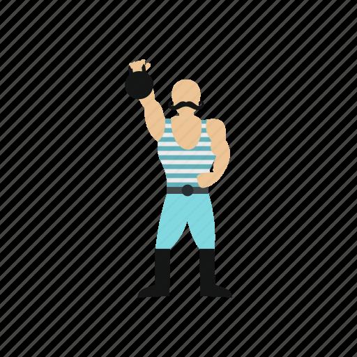 athlete, circus, man, retro, vintage, weight, weightlifter icon
