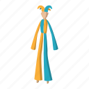 carnival, circus, clown, costume, fun, performer, stilt icon