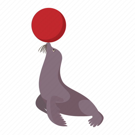 animal, cartoon, circus, mammal, seal, walrus, wild icon