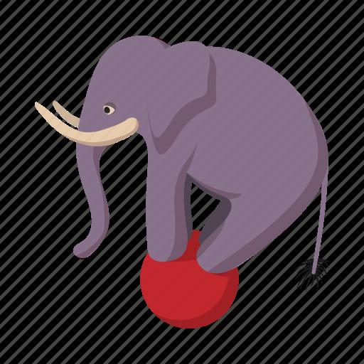 animal, balance, ball, cartoon, circus, elephant, zoo icon