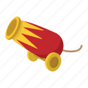 cannon, cartoon, circus, gun, old, war, wheel icon