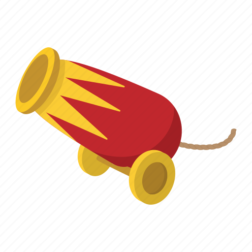 cannon, cartoon, circus, gun, old, war, wheel icon