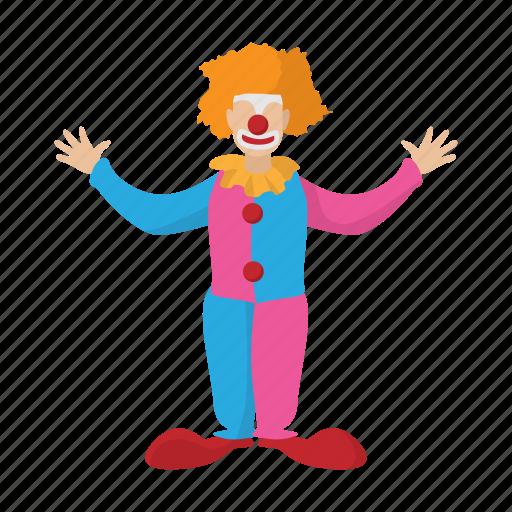 cartoon, circus, clown, costume, funny, happy, hat icon
