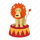 animal, cartoon, circus, cute, drawing, lion, mammal icon