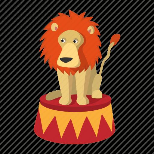 animal, cartoon, circus, cute, drawing, lion, mammal icon