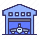 airplane, airport, building, city, cityscape, hangar icon