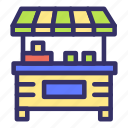 building, city, cityscape, shop, stall, stand, streetfood icon