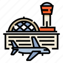 airfield, airplane, airport, building, flight, terminal, travel icon