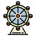 amusement, circle, enjoyment, entertainment, ferris, park, wheel icon