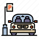 car, carpark, park, parking, parking lot, place, space icon