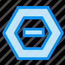 data, hexagon, minus, negative icon