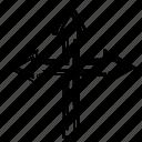 arrow, direction, three, way, ways