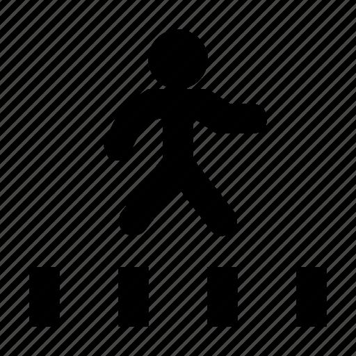 pedestal, pedestrian crossing, road, road crossing, zebra crossing icon