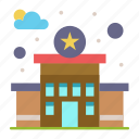 building, police, station icon