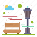 bench, city, park, recreation icon