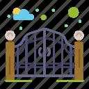entrance, garden, gate, street