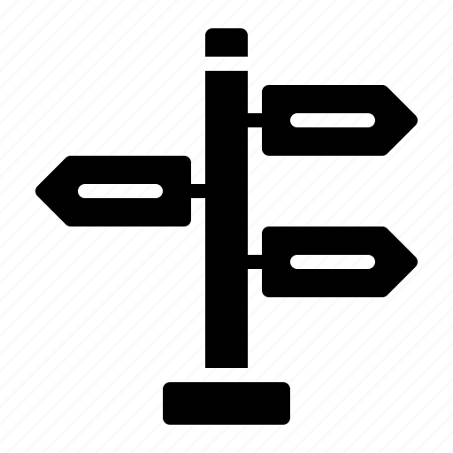 arrow, direction, road, signpost, street icon