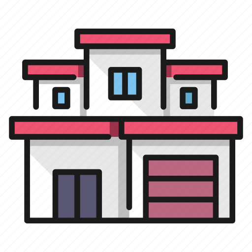 building, front, home, house, modern, urban icon
