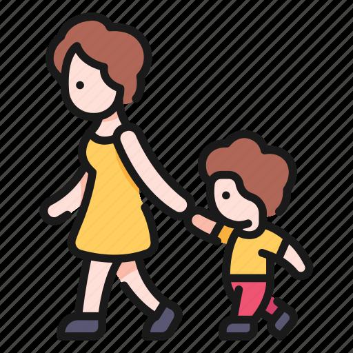 mom, people, person, son, walk, woman icon
