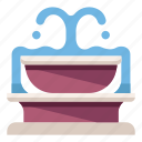 city, water, splash, park, garden, urban, fountain icon