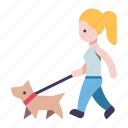 dog, woman, walk, person, female